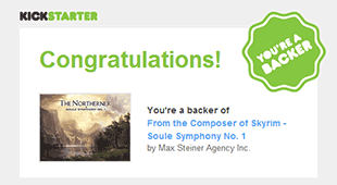 a screen grab of Jeremy Soule's Symphony No. 1 kickstarter page. Jeremy was the composer of Skyrim, Oblivion, Morrowind, and Guild Wars