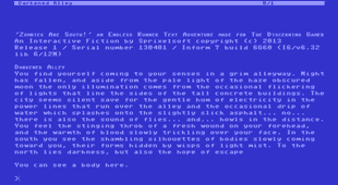 A screen grab of the Zombies Are South endless runner text adventure that was released by Sprixelsoft on April 1st 2013 as an April Fools joke.