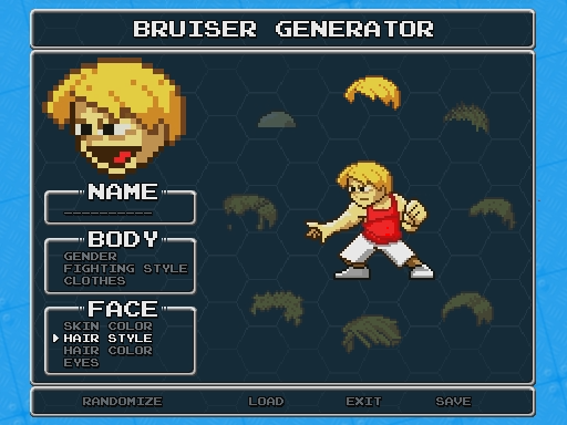 early mock-up of how the character generator will look like for Super Hematoma